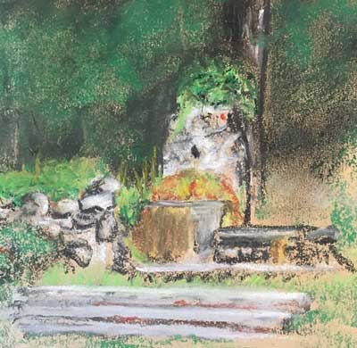 Design Fontaine au pastels secs